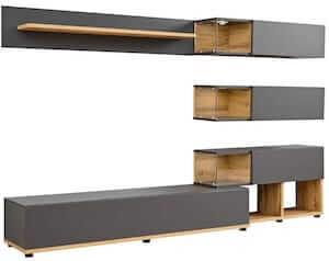 Silk grå reolvæg med praktisk tv bord