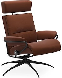 Stressless Tokyo lænestol i rød brun læder og aluminium sokkel