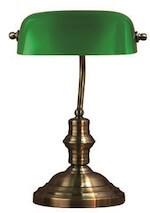 Klassisk banker bordlampe i grøn oxid
