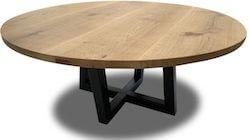 Rundt plankebord af egetræ fremstillet af professionel snedker