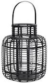 Lanterne sæt fra Hübsch i sort malet bambus