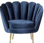 Lene Bjerre stol med guldben og mørkeblå velour